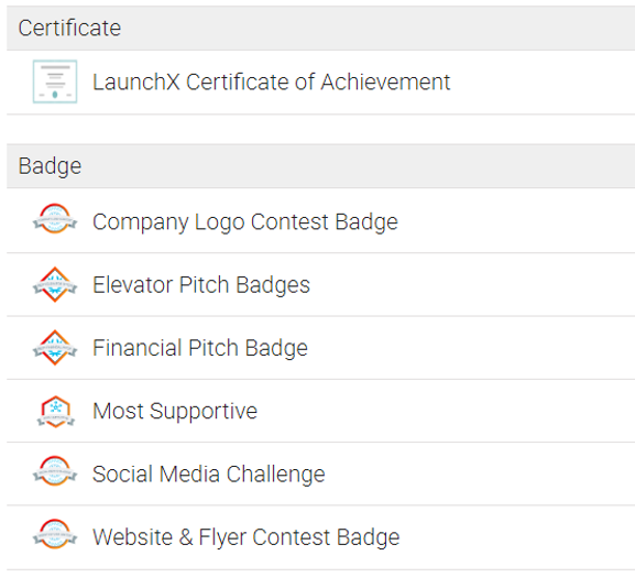 example screenshot of leaderboard certificate and badges accomplishments