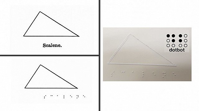 image of triangles and output from printer