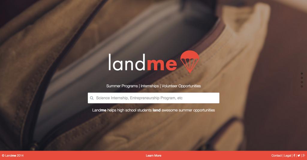 LandMe landing page
